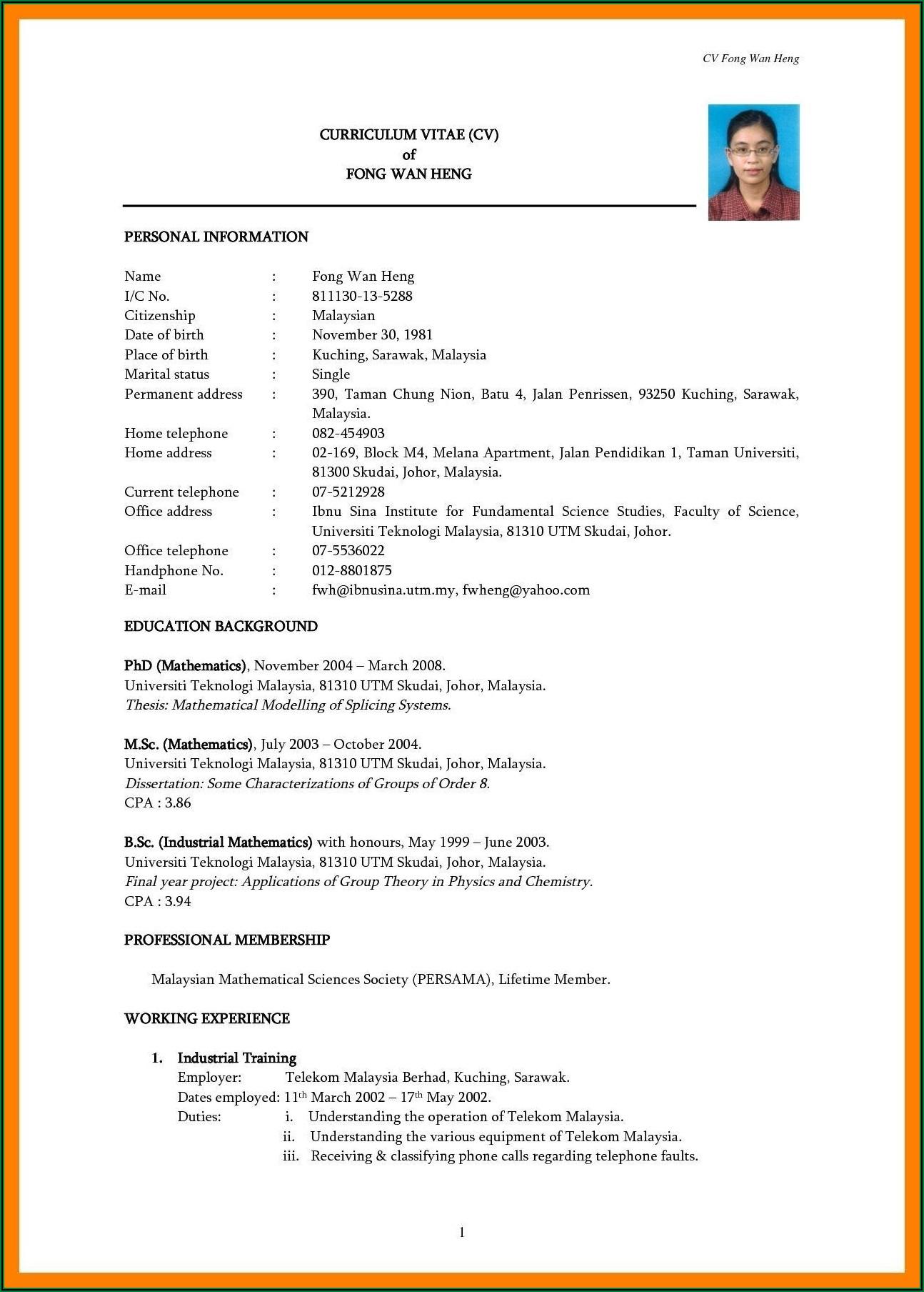 Resume Examples Pdf Free Download