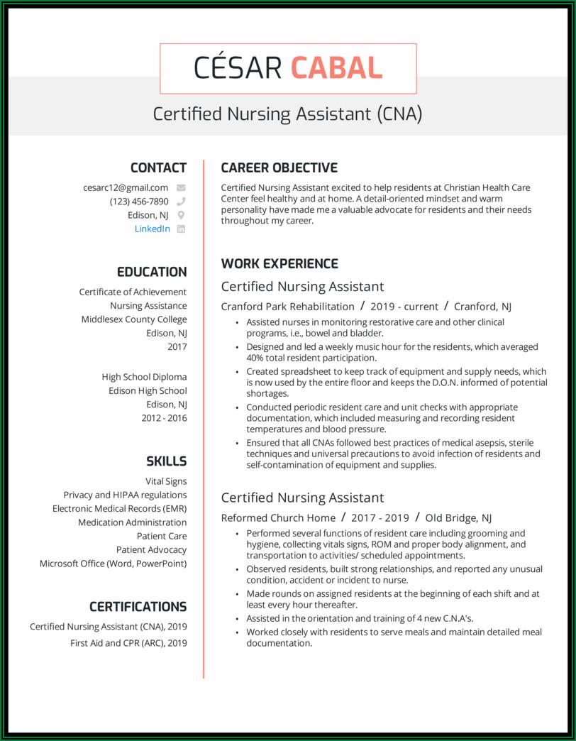 Resume For Nursing Assistant In Hospital