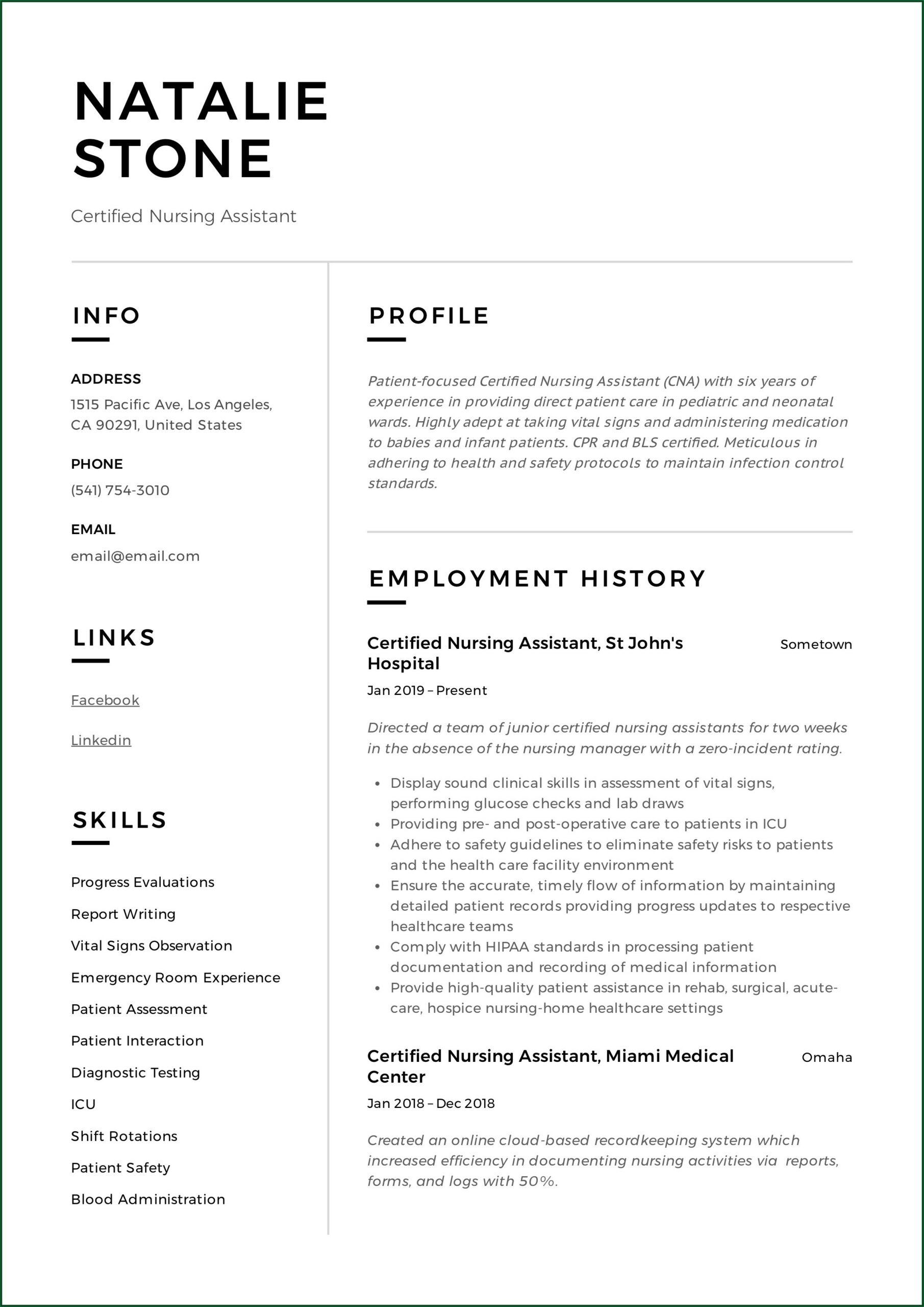Resume For Nursing Assistant Job