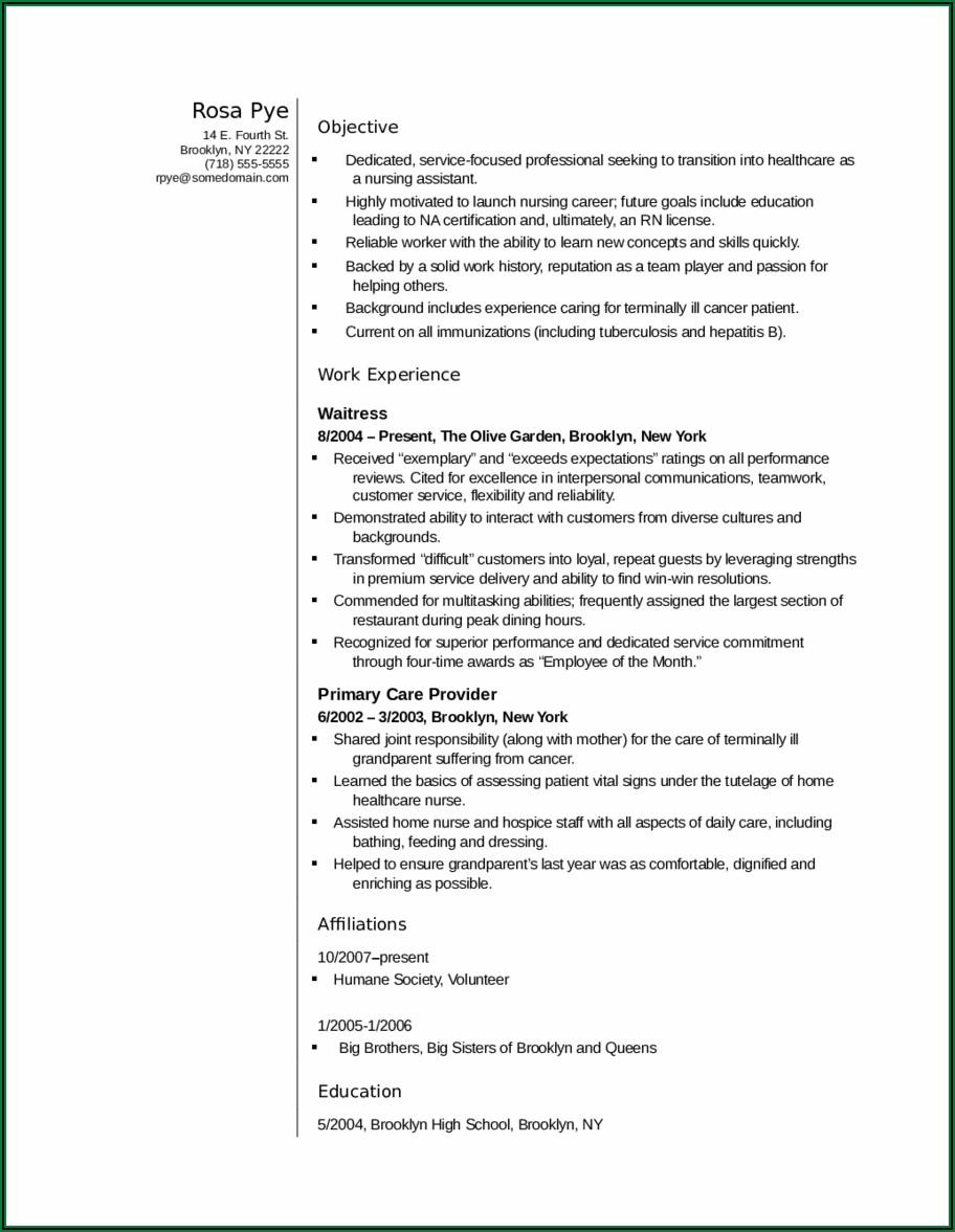 Resume For Nursing Assistant Sample