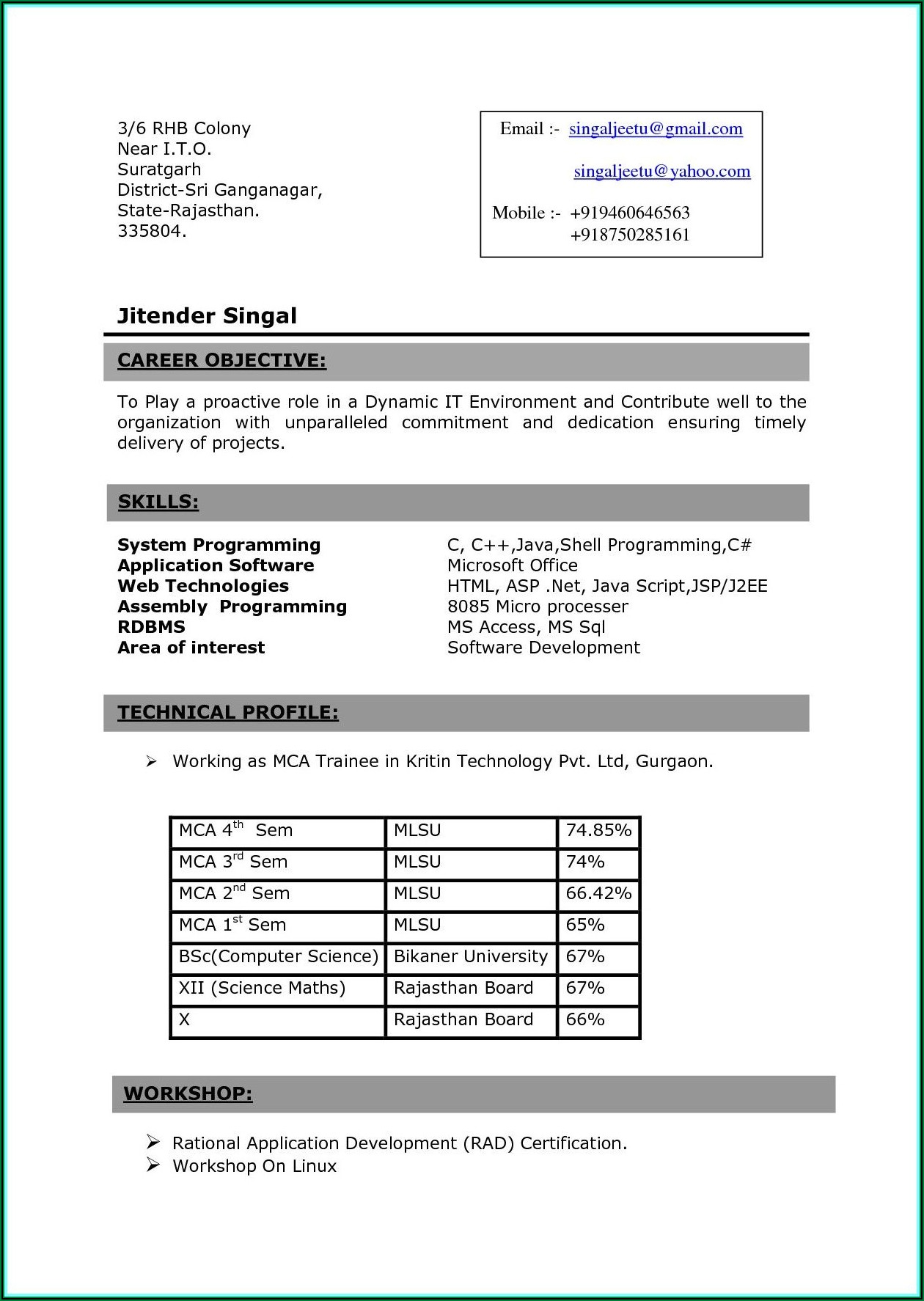 Resume Format For Freshers Bsc Computer Science Pdf Free Download