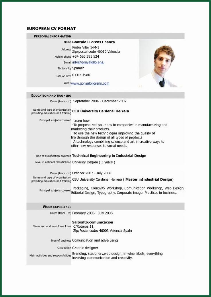 Resume Format Pdf Free Download
