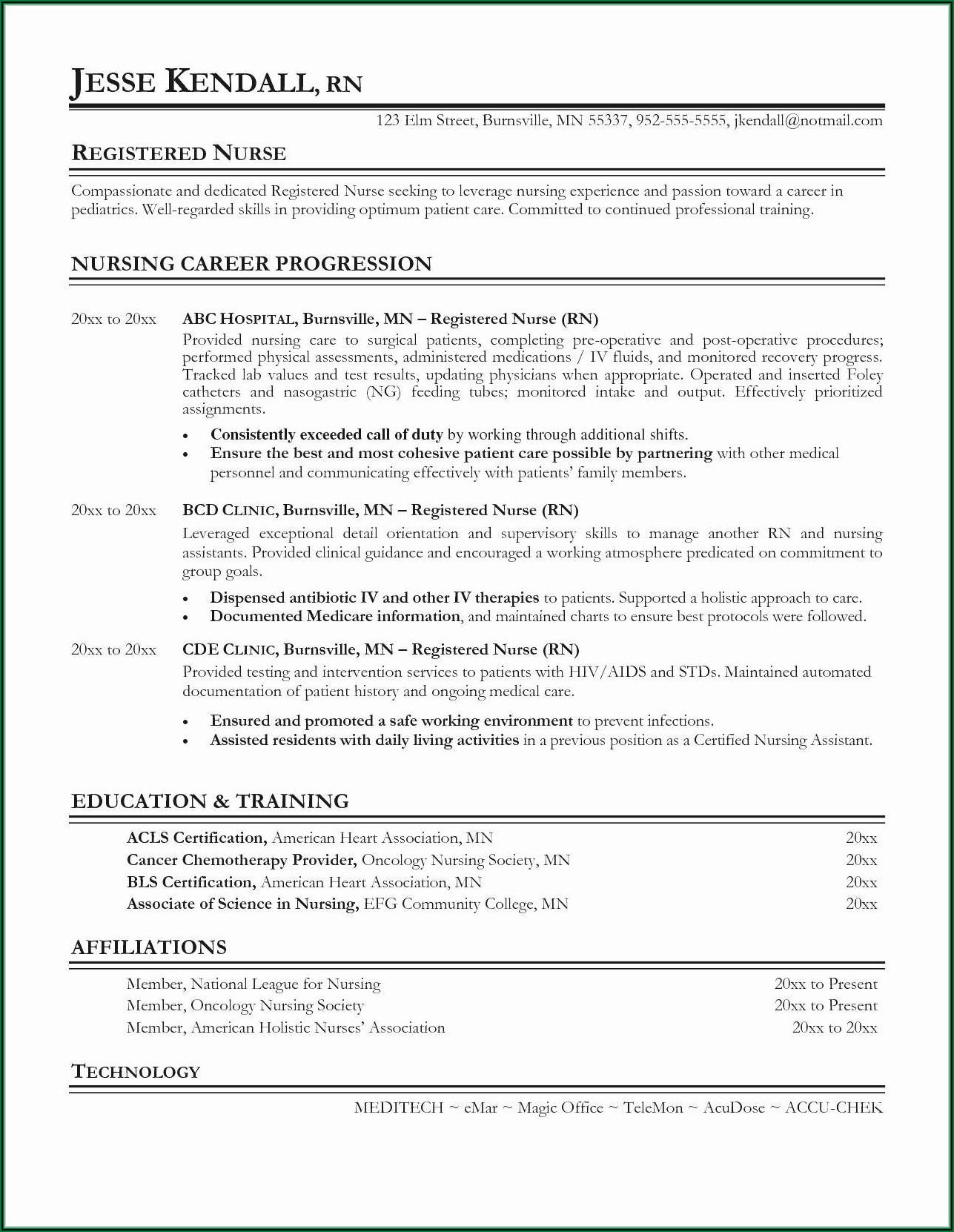 Resume Objective For Certified Nursing Assistant