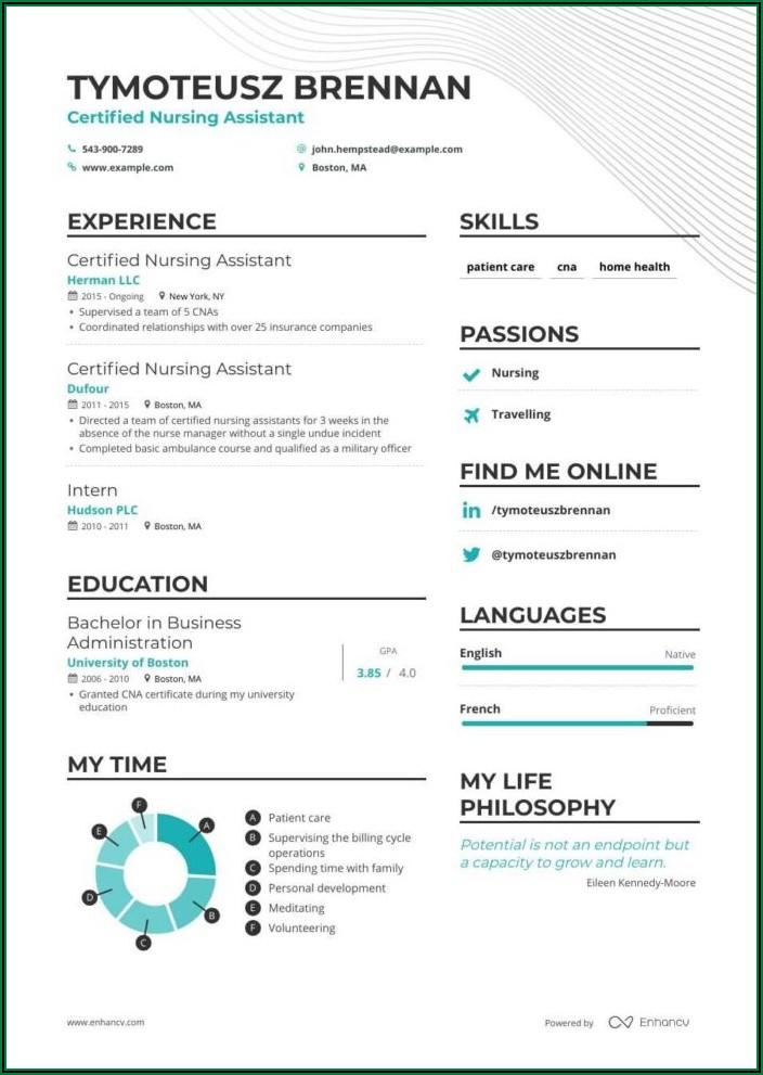 Resume Sample For Nursing Assistant Cna
