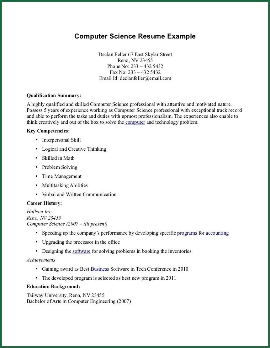 Resume Sample Pdf Free Download
