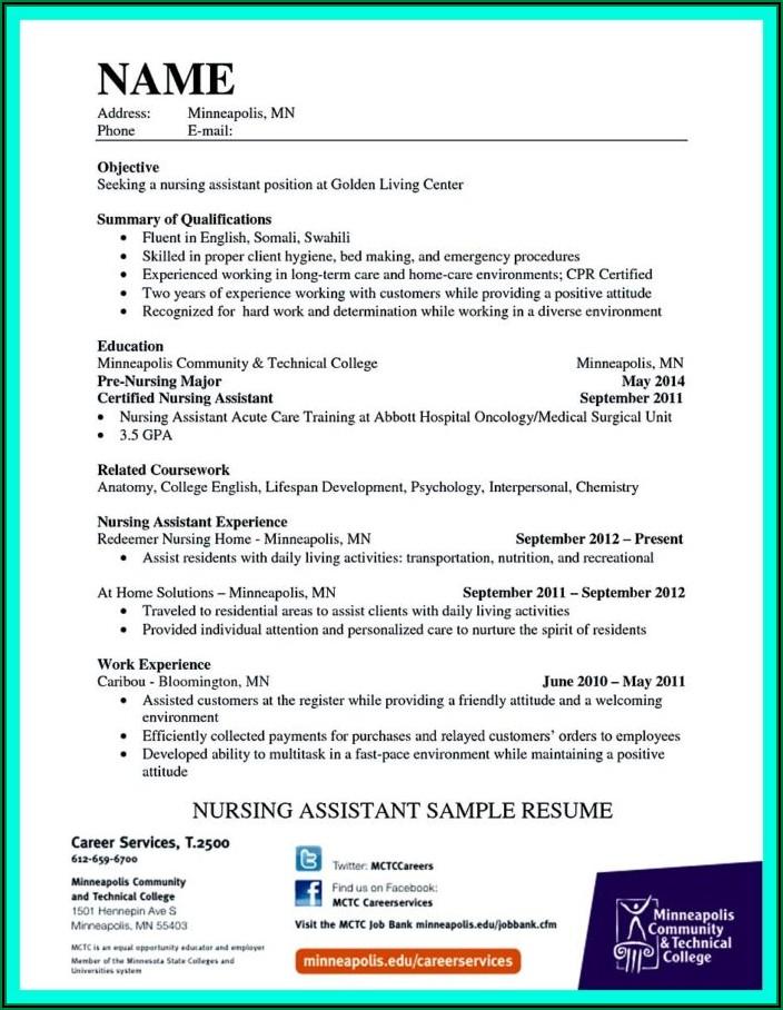 Resume Skills For Certified Nurse Assistant