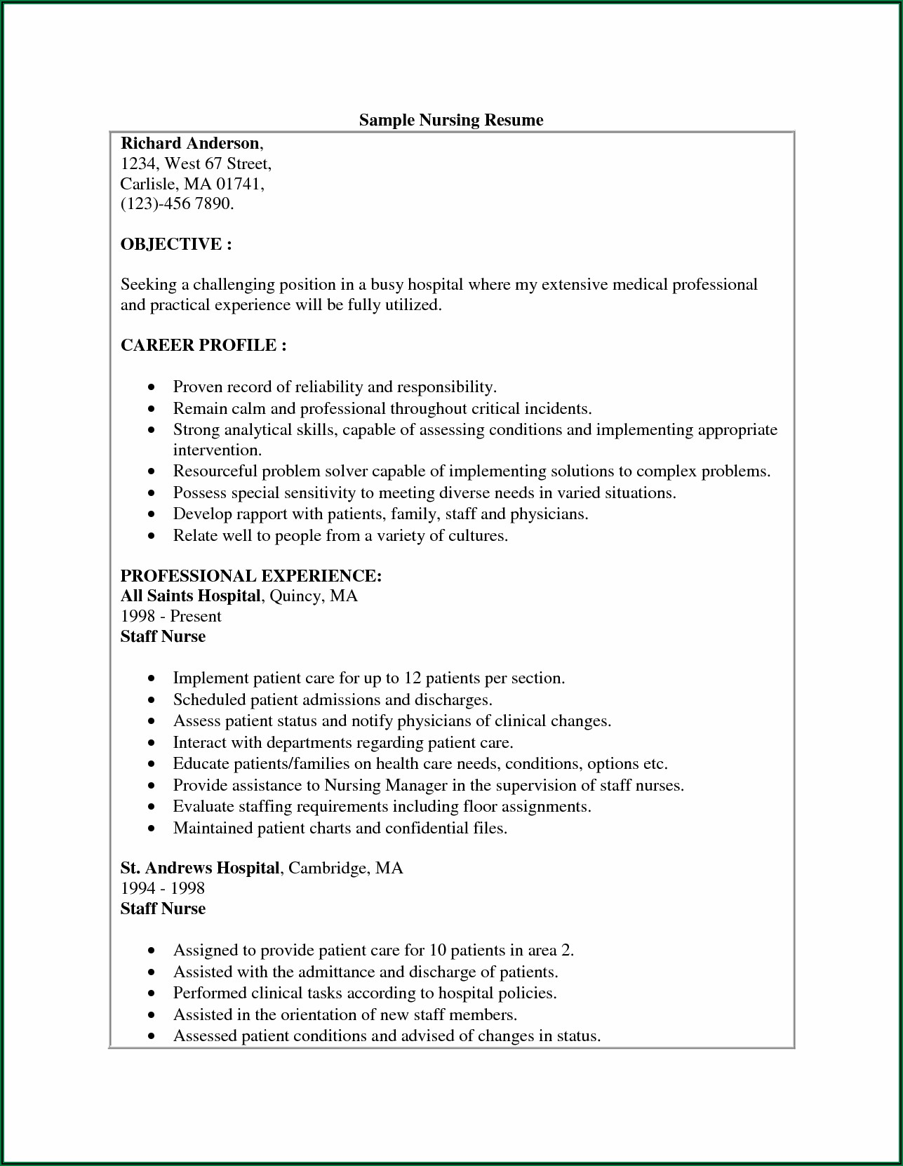 Resume Summary For Nursing Assistant