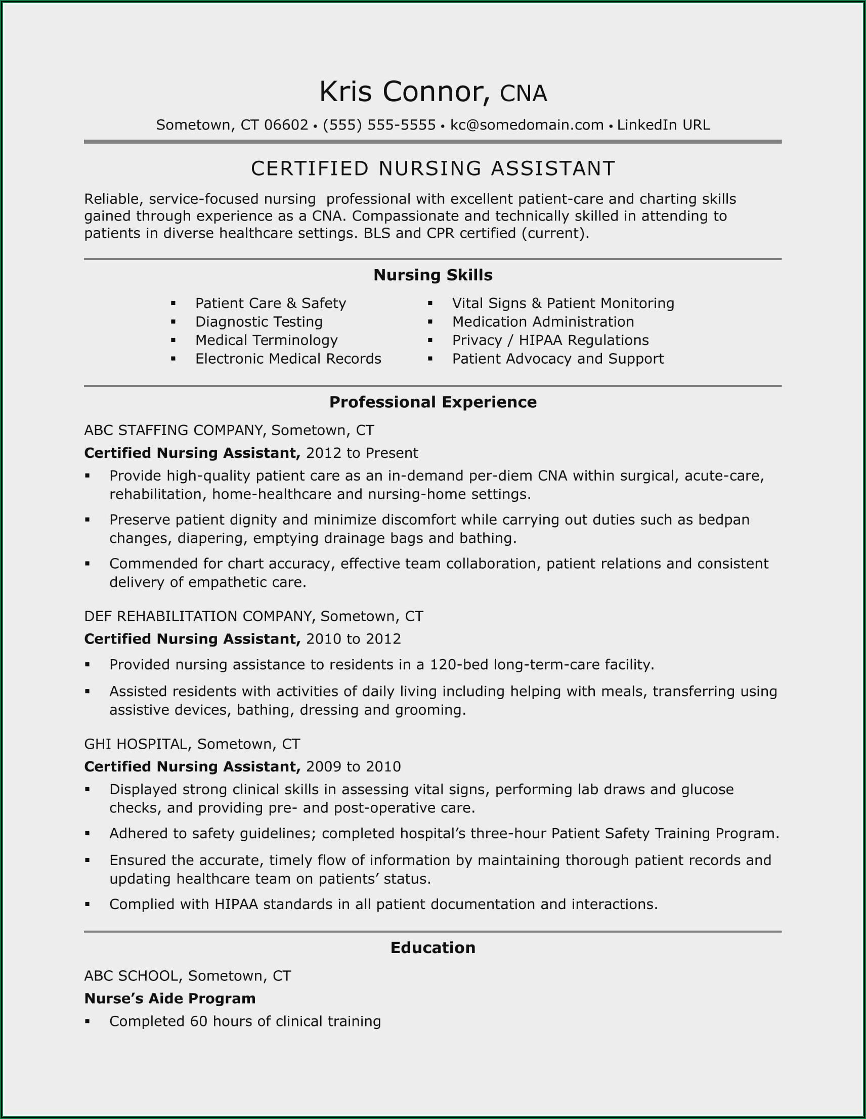 Resume Templates For Nursing Assistant