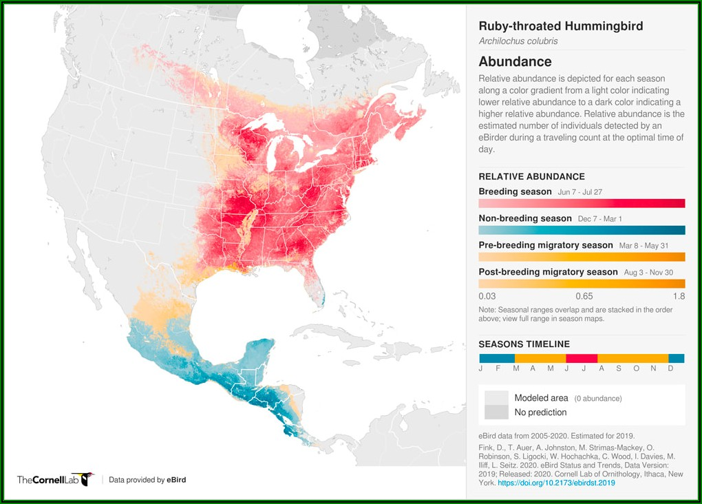 Ruby Throated Hummingbird Migration Map 2018