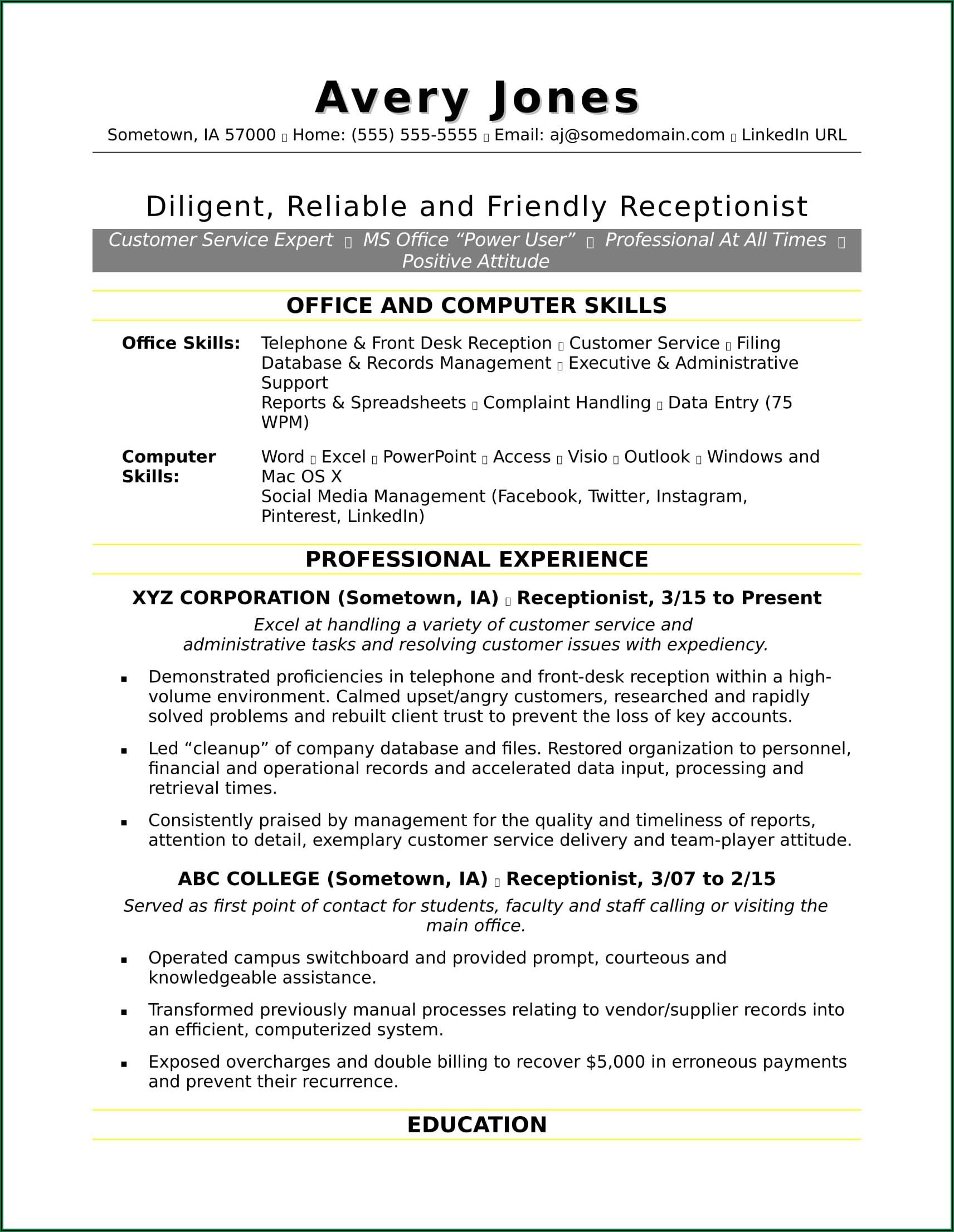 Sample Cv For Customer Service Representative