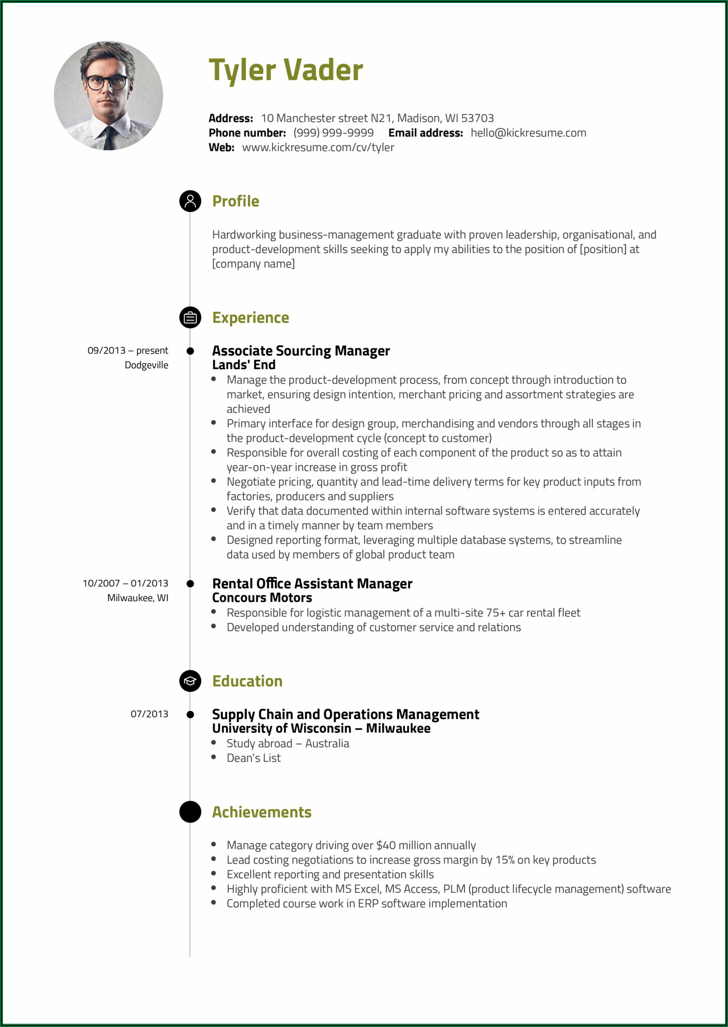 Sample Of Professional Profile For A Resume