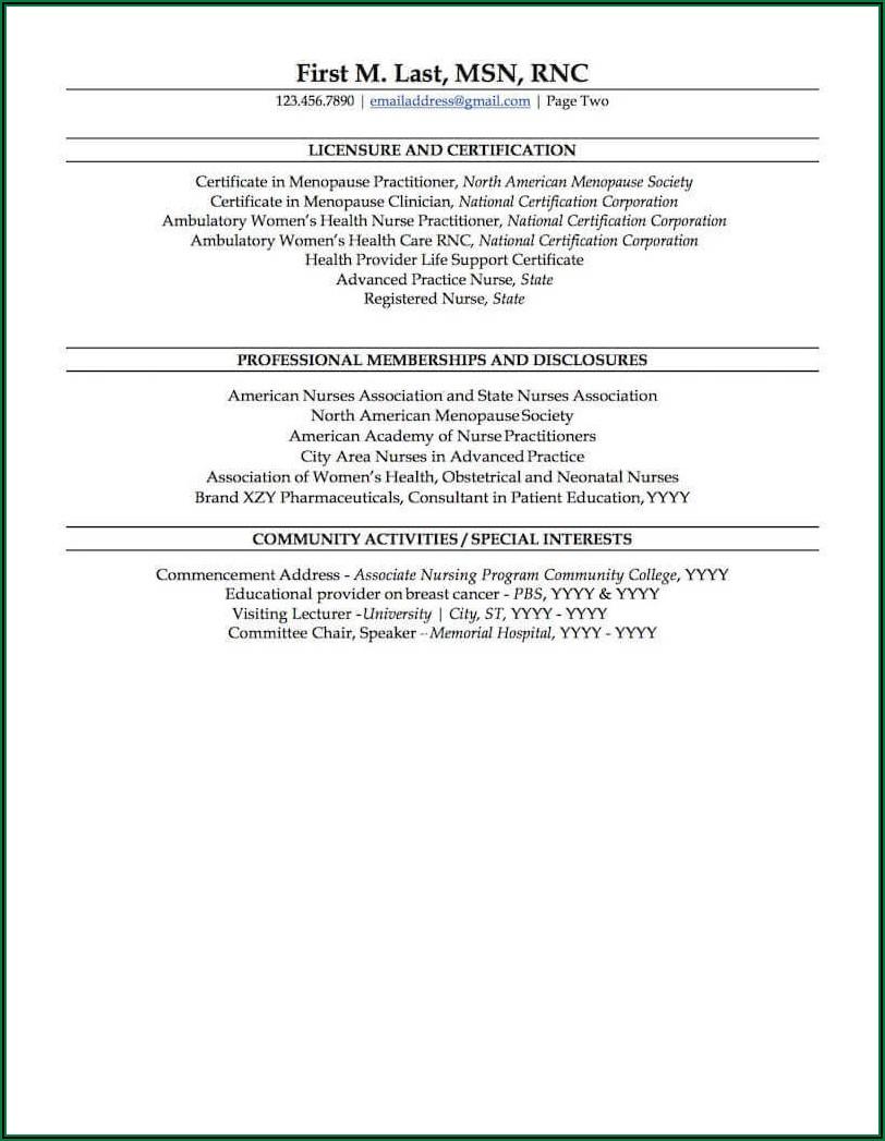 Sample Professional Nurse Resume