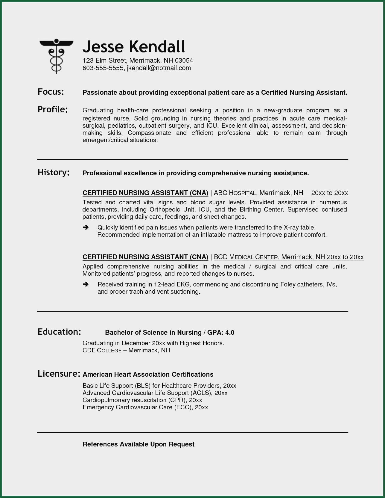 Sample Resume For Certified Nursing Assistant