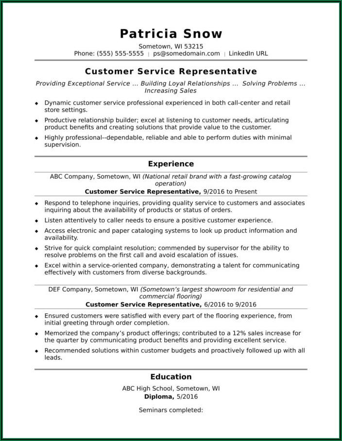 Sample Resume For Client Service Representative