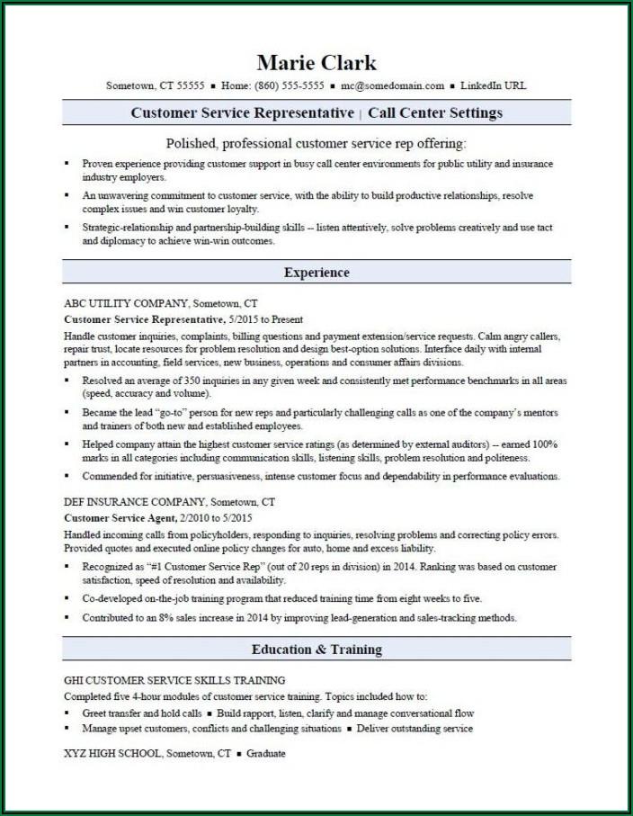 Sample Resume For Customer Service Agent