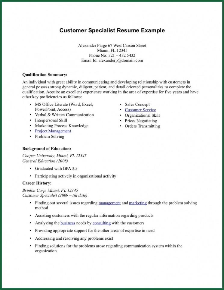 Sample Resume For Customer Service Representative No Experience