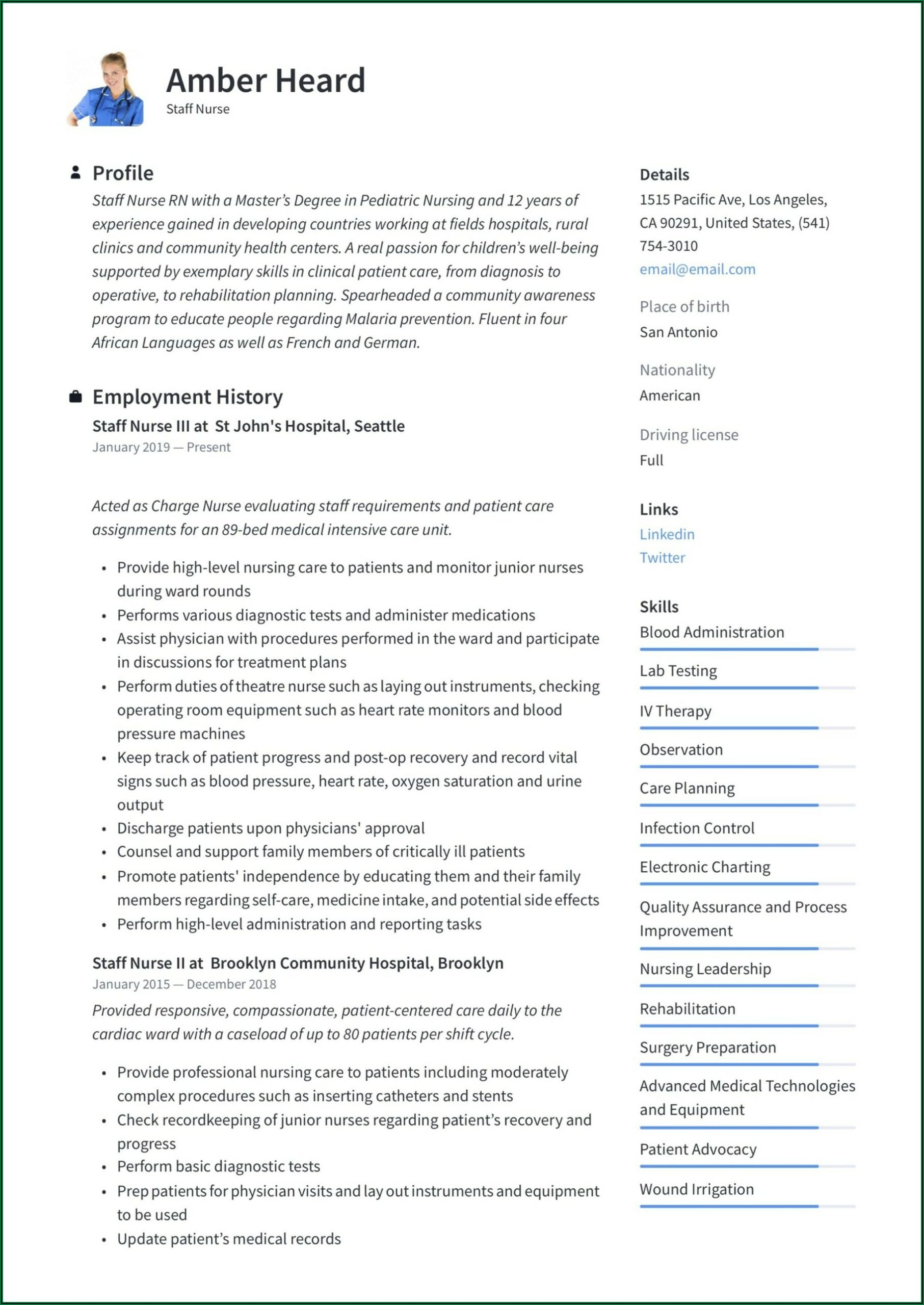 Sample Staff Nurse Resume Free Download