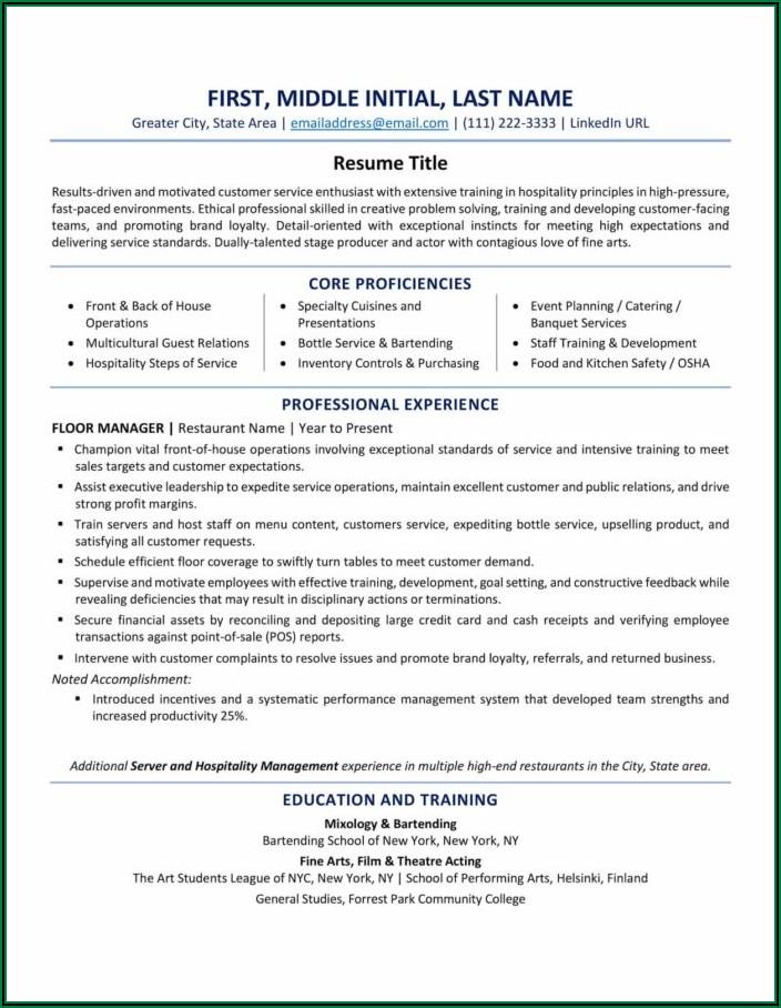 Samples Of Good Professional Resume