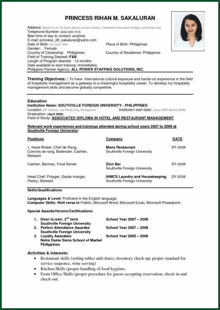 Samples Of Professional Resume