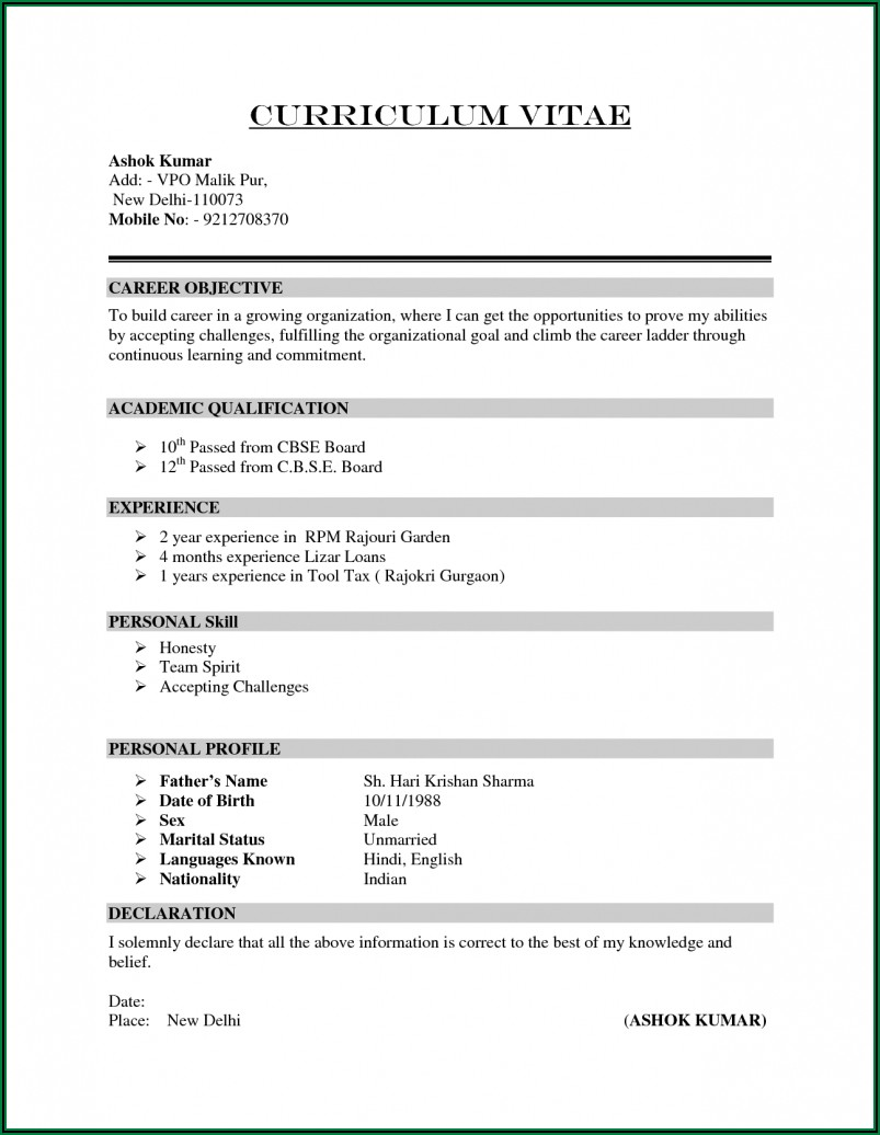 Simple Resume Format For Freshers Free Download Pdf