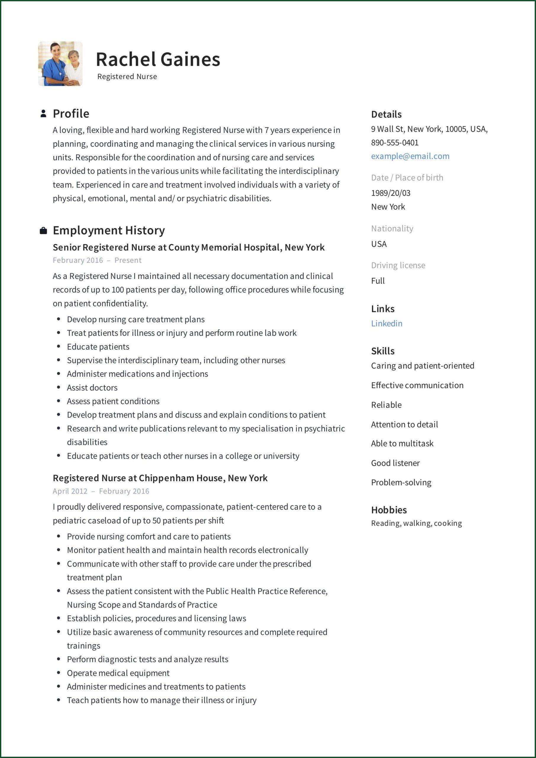 Staff Nurse Resume Format Free Download