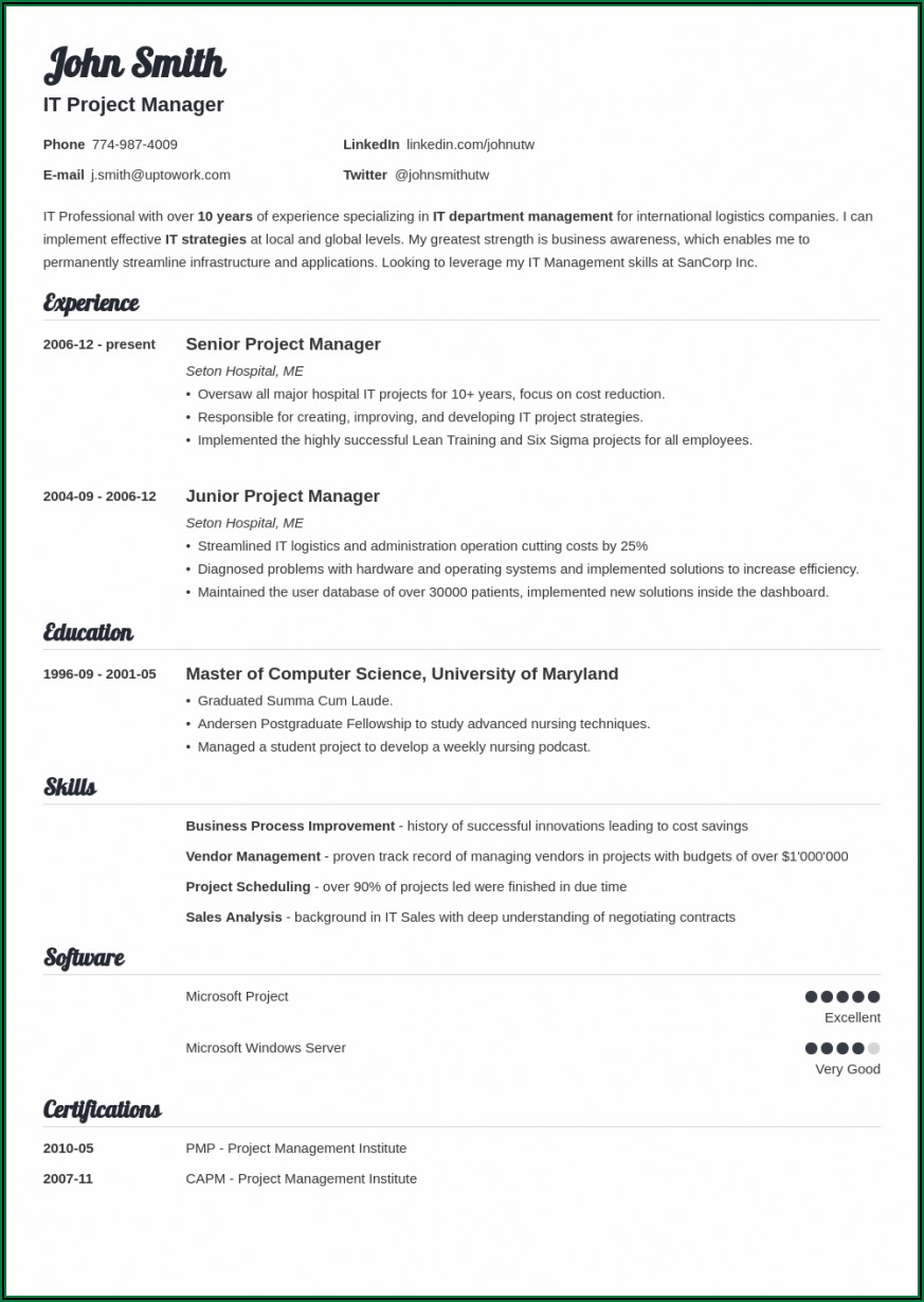 Templates Of Professional Resumes