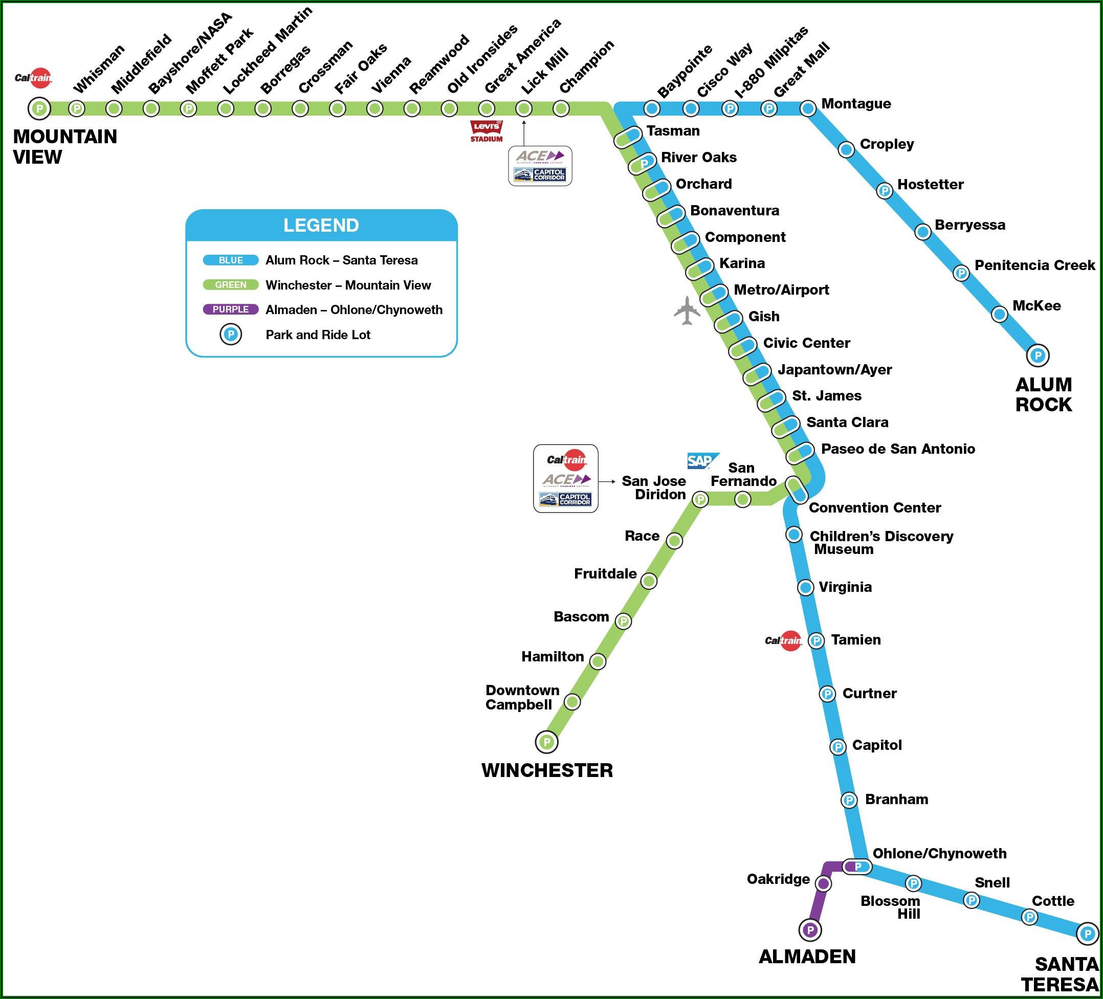 Vta Light Rail Map Santa Teresa