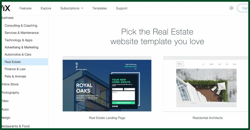Wix Real Estate Photography Template