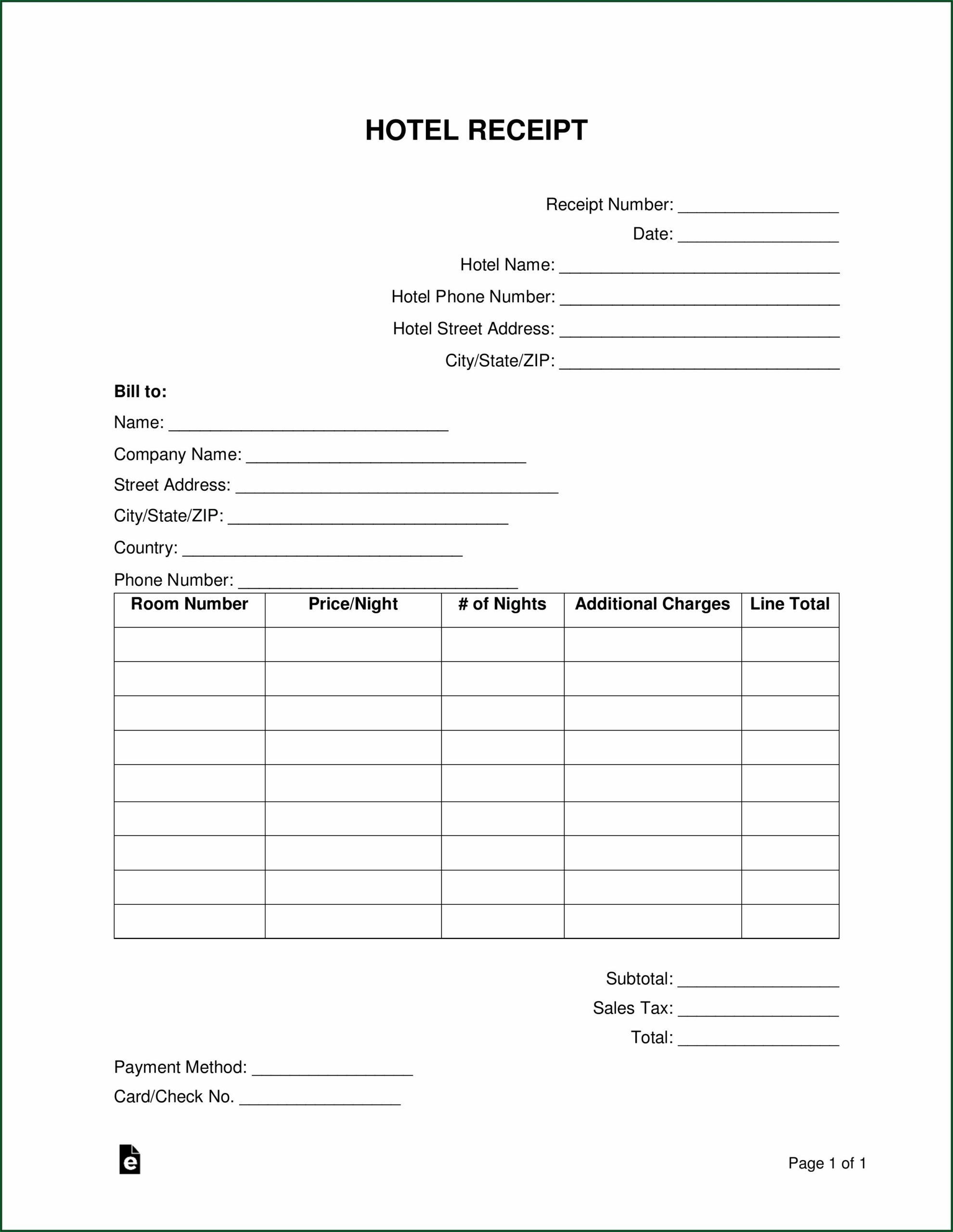 Word File Sample Hotel Bill Format