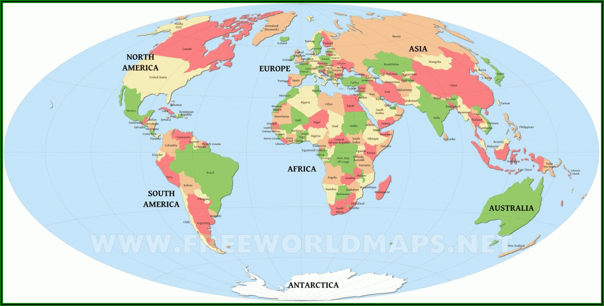World Map Coloring Page With Countries