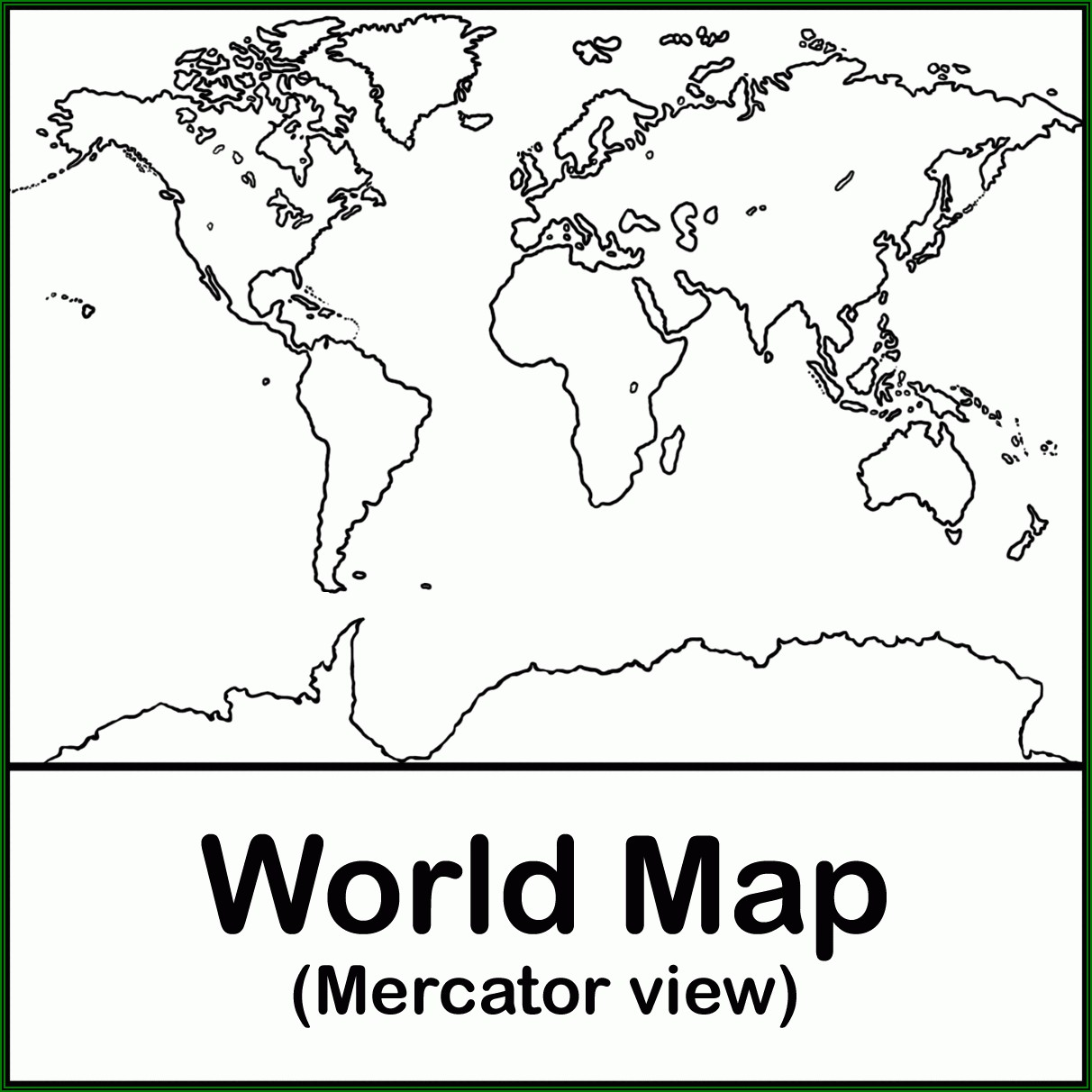 World Map Coloring Page With Labels