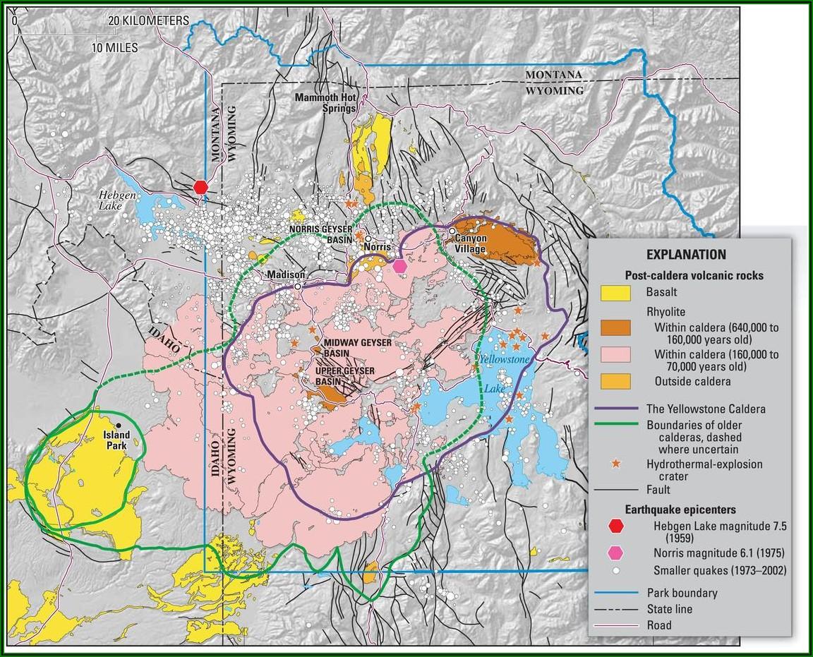 Yellowstone National Park Supervolcano Map