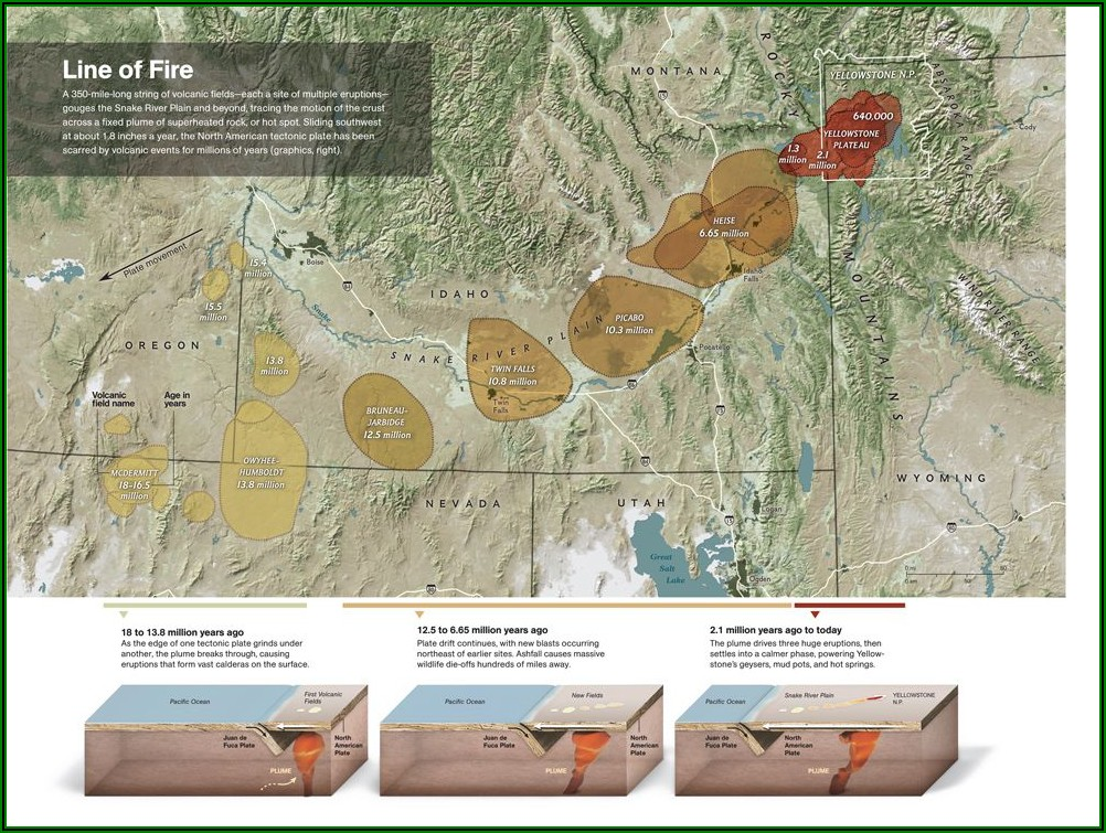 Yellowstone Supervolcano Ash Map