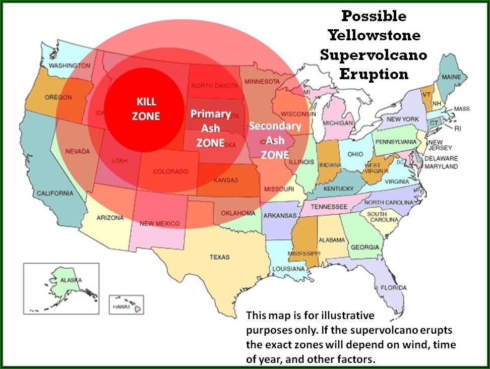 Yellowstone Supervolcano Destruction Map