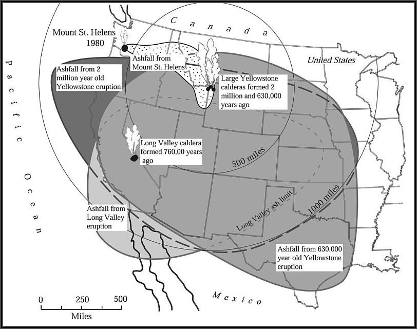 Yellowstone Supervolcano Fallout Map
